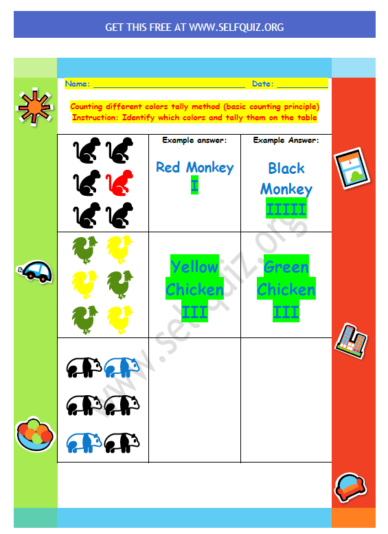 Counting different colors animals tally method